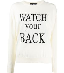 boutique moschino watch your back slogan jumper - white
