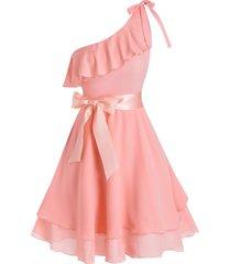ribbon bowknot one shoulder layered dress