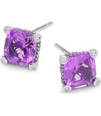 effy eny women's sterling silver, amethyst & diamond stud earrings