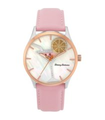 tommy bahama women's cocktail party spinning lemon pink leather strap watch, 41mm