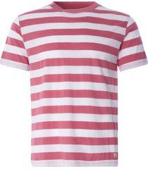 armor lux wide stripe heritage t-shirt | pink/natural | 77345-gxy