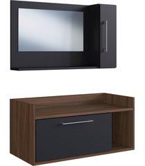 conjunto de balcã£o e espelheira p/ banheiro bentes preto/nogueira e estilare mã³veis - preto - dafiti