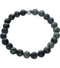 bracciale elastico con pietre e acciaio verde per uomo