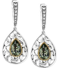 balissima by effy green quartz pear drop earrings in sterling silver and 18k gold (2-1/3 ct. t.w.)