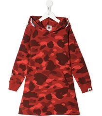 a bathing ape® army print hoodie dress - red