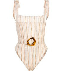 nicholas chain-print belted swimsuit - white