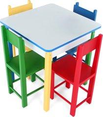 mesa com 4 cadeiras de madeira- mad. e mdf - cx. papelão - carlu - kanui