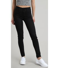 calça de sarja feminina sawary super skinny com bojo preta
