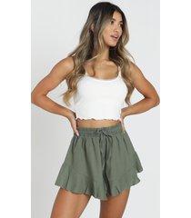showpo beach vibes shorts in khaki linen look - 4 (xxs) shorts