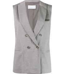 fabiana filippi sleeveless jersey blazer - grey