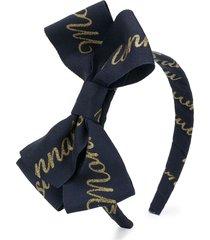 monnalisa logo print bow headband - blue