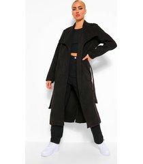 nepwollen jas met grote kraag, black
