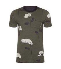 t-shirt masculina double rose glitch - verde