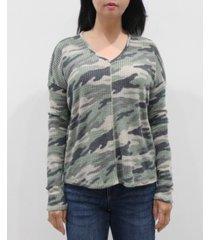 coin 1804 women's camo v-neck long sleeve dolman top