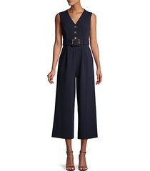 belted cropped wide-leg jumpsuit