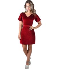 vestido corto genova rojo terciopelo maria paskaro