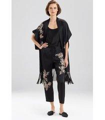 yoshi embroidered pants, women's, black, 100% silk, size s, josie natori