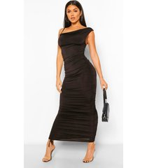 asymmetrische midaxi jurk met bandjes en ruches, black
