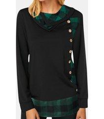 camicetta da donna con colletto a pile patchwork scozzese