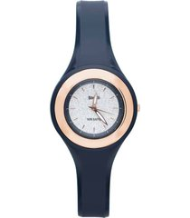 los angeles – orologio so fancy 3h blu con ghiera dorata e quadrante glitter per donna