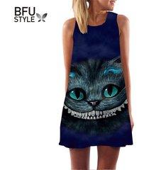 summer dress cheshire cat print sleeveless women sexy casual mini a-line dresse