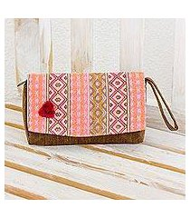 cotton wristlet handbag, 'rose maya zigzags' (guatemala)