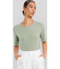 na-kd basic round neck ribbed tee - green