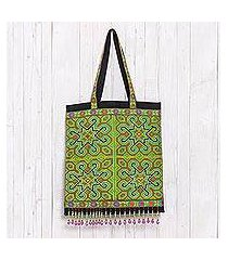 cotton blend tote, 'hmong intricacy' (thailand)