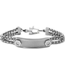 bulova men's double box chain id bracelet in stainless steel