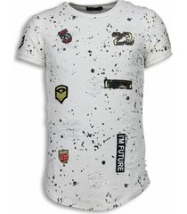t-shirt korte mouw justing paint drops army long fit black dotted