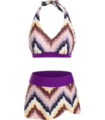 halter zigzag skirtini bikini swimwear