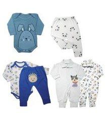 kit roupas de bebê maternidade 6 peças mini enxoval algodão azul