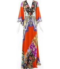 etro 2019 somerset printed silk maxi dress blue/red/floral print sz: m