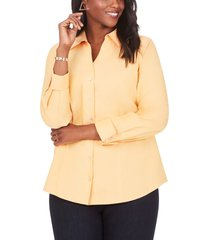plus size women's foxcroft lauren non-iron pinpoint button-up shirt, size 14w - yellow