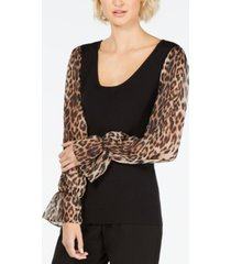 inc petite leopard-print-sleeve sweater, created for macy's