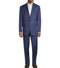 lauren ralph lauren men's regular-fit ultraflex windowpane check suit - bright navy - size 46 l