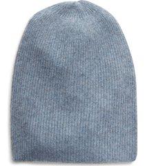 women's halogen ribbed cashmere beanie - blue