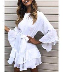 ajuste de volantes de amarre diseño lino vestido