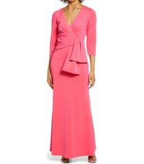 women's eliza j drape bow crepe sheath dress, size 14 - coral