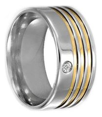 aliança de aço c/ zircônia filete de ouro (unidade)-12