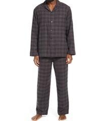 men's nordstrom 824 flannel pajamas, size x-large - black