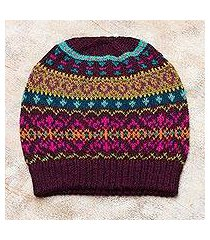 100% alpaca knit hat, 'colorful carousel' (peru)