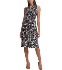 tommy hilfiger dot-print jersey midi dress