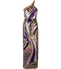 emilio pucci sequin embroidered silk maxi dress - purple
