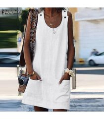 zanzea mujeres con tiras tapa de la túnica camisa de la blusa sin mangas t vestido de tirantes mini vestido -blanco