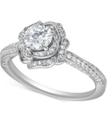 marchesa certified diamond rose engagement ring (1 ct. t.w.) in 18k white gold
