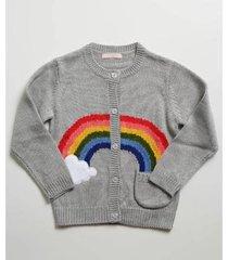 casaco infantil marisa bordado arco íris feminina