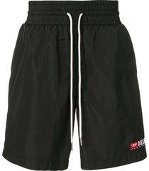 diesel nylon loose fit shorts - black