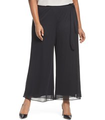 plus size women's alex evenings high rise tie waist wide leg pants