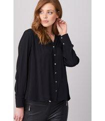 blouse met knooplijst en gestikte plooitjes
